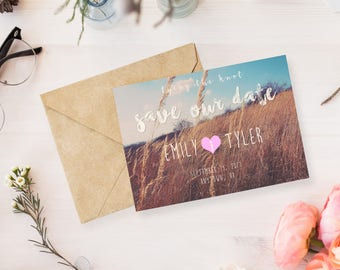 Save the Date - Straw Field - Printable Fillable Customizable Instant Download PDF