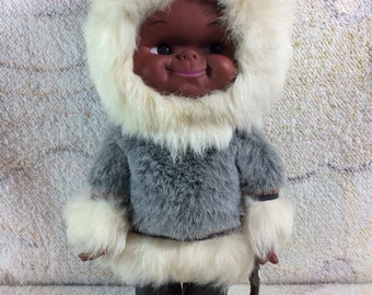 Vintage Real Fur Outfit Native Canadian Doll Aboriginal Rabbit Fur Clothes Leather Eskimo