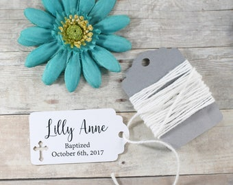 White Baptism Tags 20pc - Thank You Tags for Confirmation - Small White Catholic Favor Tags - Personalized White Christian Tags