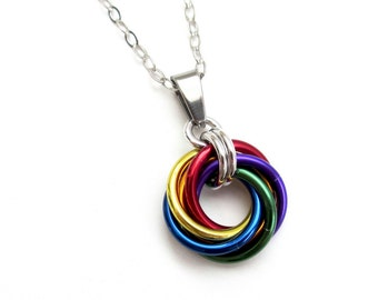Gay pride pendant necklace, chainmail love knot, rainbow LGBT jewelry