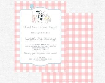 Farm Birthday Party Invitations   Barnyard Party   Barn Bash   Cow   Pig   Sheep   Party Animals   Pink Gingham-FREE SHIPPING/DIY printable