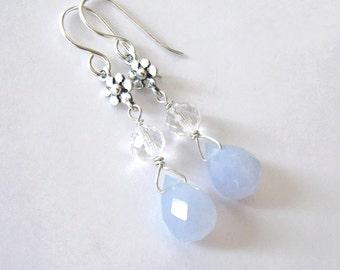 Blue Lace Agate Earrings, Rock Crystal Quartz, Sterling Silver Flower, Chalcedony