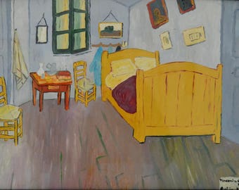 Oil painting, replica Van Gogh, bedroom in Arles, hand-painted oils on chipboard