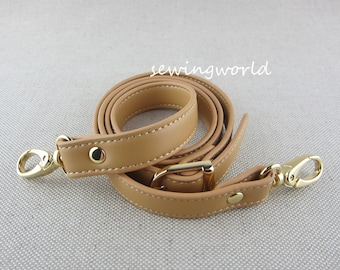 118cm Tan Color Synthetic Leather Purse Strap Crossbody