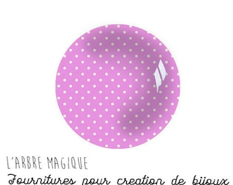 Pink with white dots 2 Cabochons fancy glass Ref1-18 mm Theme various treble clef note