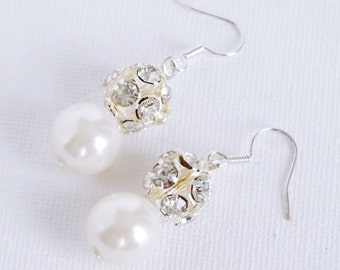 Pearl drop earrings Pearl Earrings Wedding Pearl Earrings Bridal pearl drop earrings Wedding Jewelry White Pearl Dangle Earrings Christmas