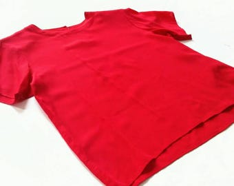 Vintage Red Silk T Shirt Blouse - Anna & Frank m medium bright bold boxy primary simple classy