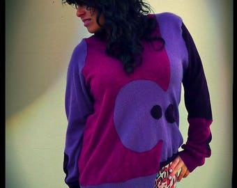 Upcycled Cashmere Merino Sweater Purple Burgundy Plum Jigsaw Jumper                      ReMade in England UK