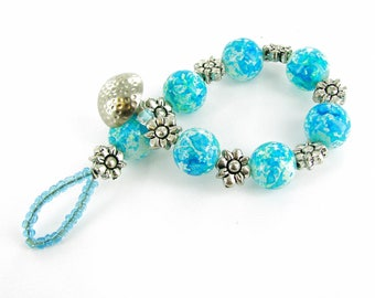 Grain Patterned Glass Beads & Flower Spacers Fancy Button Toggle Bracelet