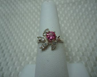Round Cut Pink Tourmaline and Sapphire Ring in Sterling Silver  #2054