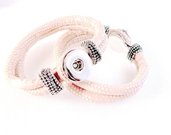 Nooza PU leather and Metal bracelet - size M - suitable for snaps DoubleBeads and Nooza - light salmon pink and silver Nickel