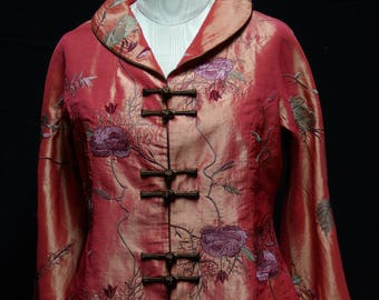 Embroidered Coral Silk Jacket in Asian Design