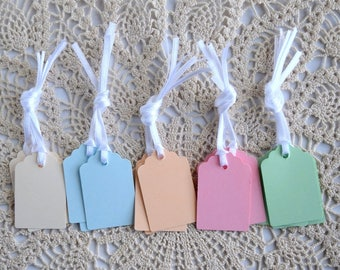 75 pcs Mixed pastel small paper TAGS with satin ribbon, Hand punched tags, Name tags, Wedding tags, Small tags, Favor tags