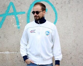 Vintage Volleyball Referee track top / Arbiter front zip jacket / Pirelli tracksuit top / Federazione Italiana Pallavolo Arbitro / 80s M