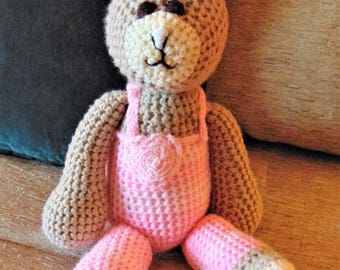 "Crocheted bunny rabbit stuffed animal doll toy ""Bella"""