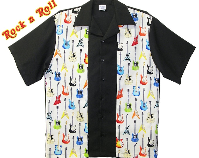 Bowling Shirts - Free Shipping - Vintage Guitars Design - Retro Rockabilly Style - Cool Party Shirts - Club Wear Clothing