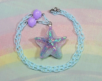 Pop Kei Necklace, Mermaid Necklace, Fairy Kei Necklace, Seapunk Necklace, Starfish Necklace, Decora Necklace, Holographic Necklace,