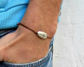 Cross bracelet for men, groomsmen gift, Silver Bracelet men's bracelet, christian catholic jewelry gift for him, mens jewelry, adjustable