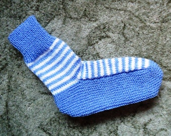 Hand knitted bed socks in Blue and White Stripes