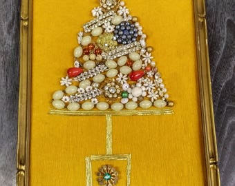 Christmas Tree Wall  Plaque Collage made from Vintage Costume Jewelry