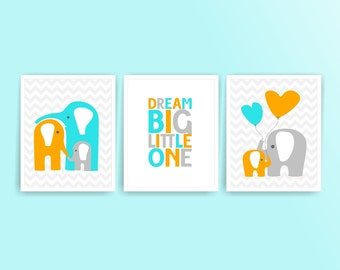 Printable DIY Nursery Art Orange, Aqua Blue, Elephants, Dream Big Little one, Set of 3, 8x10 JPG files ( 020set810 ) ( N005 )