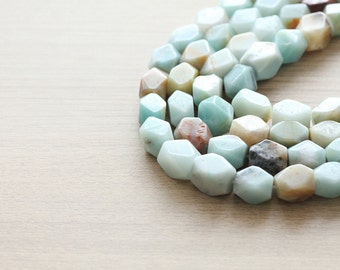 10 pcs of Natural Multicolor Amazonite Faceted Nugget Beads - 11x15mm