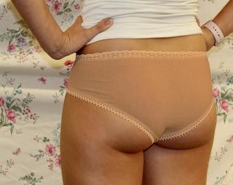 Blush-Pink, Hemp/Organic-Cotton Blend Cheeky Undies dyed with Avocado Pits