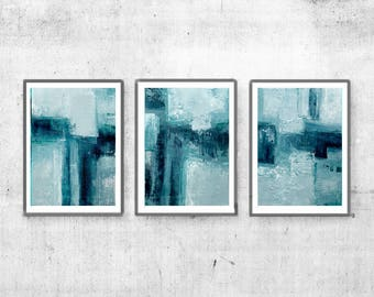 Downloadable print, Contemporary Wall Art, Modern Art large , Compositions, set of 3, Teal abstract, turquoise abstract art, Blue Abstract