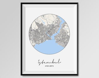 ISTAMBUL Map Print, Modern City Poster, Black and White Minimal Wall Art for the Home Decor