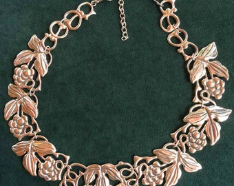 Gorgeous Taxco Mexico Sterling Silver Necklace with a Grape Bunch Motif; Statement Necklace