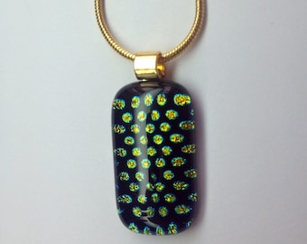Small Dichroic Glass Pendant on Gold Chain - Iridescent Green Polkadot on Black