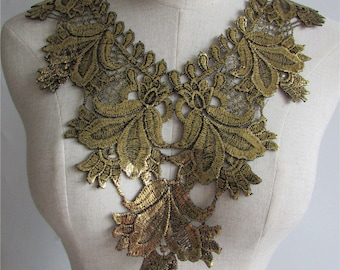 x 1 guipure gold sheer floral lace collar applique sewing 32 x 33.5 cm @27
