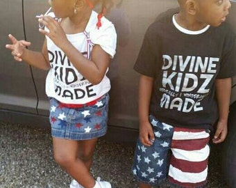 4th of July- Girls- Boys- Patriotic Shorts- Jeans- Skirts- American Flag- Distressed Denim- Infant- Baby- Toddler- Kids- Hand Painted Denim