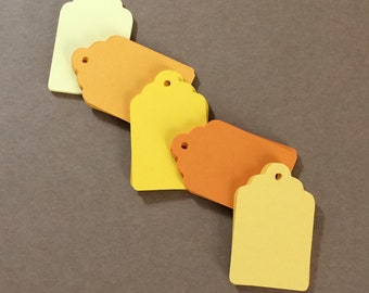 50 Tag Die Cuts 1 3/4 inch tall Citrus Colors