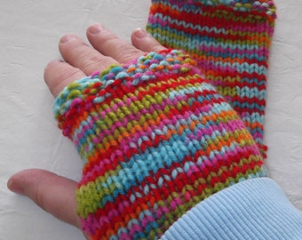 Fingerless Gloves Knitted Primary Colors Cold Winter Accessory Unique Holiday Stocking Idea Ice Skating Snow Playing Cellphone Accessory