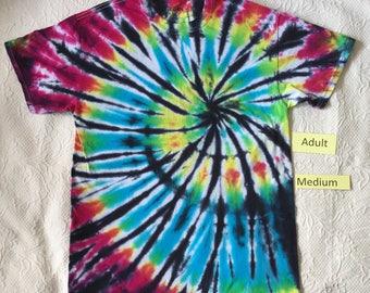 Adult Medium Multi-Color Spiral Short Sleeve Tie Dye T-Shirt