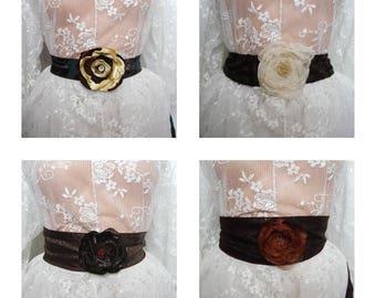 Brown Flower Sash Belts, Fall Wedding Dress Sash Fall Colors Sash Belt, Floral Embellishment Flower Sash