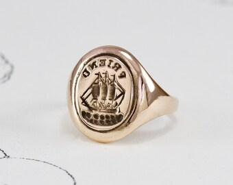 Antique Style Rose Gold Signet Ring, 10k Rebus Intaglio Signet, Friendship Friend Ship Ring Jewelry, Alternative Wedding Anniversary Gift