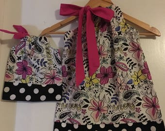 matching dresses Dolly and me black pink florak Pillowcase dress   size  12 months 2t,3t,4t,5t,6.7.8.9,10.12,14