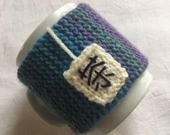 Knitted mug cozy, mug warmer, Tea Cup, mug, with embroidery and button cover, mothers day gift
