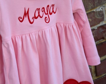 Valentine Dress-- My Sweet Valentine -- long sleeve pink dress dress with name and heart in red