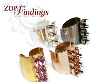 2pcs x Wide Fashion Matte or Shiny Plated Rings For Setting Swarovski SS39 Crystal (RG39X3MV)