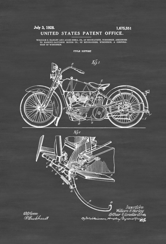 Harley Davidson Patent Patent Print Wall Decor Motorcycle