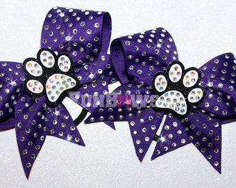 3-D Pawprint Rhinestone Pigtail Cheer  bow  set - custom -   by FunBows - WOW