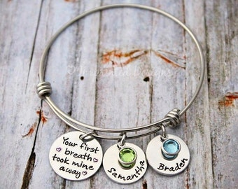 Charm Bracelet - Wire Bangle - Mother Bracelet - Personalized - Adjustable - Birthstone - Your First Breath Took Mine Away - Grandma - Nana