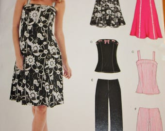Cute Summer Wardrobe Pattern for Slip Dress, Shorts Pants and Top---New Look 6468---Sizes 6-16