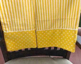 Set Vintage Gold White Stripe and Polka Dot Pillow Case
