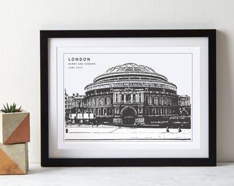 Royal Albert Hall Monochrome London Art Print|personalised print|Big Smoke|anniversary gift