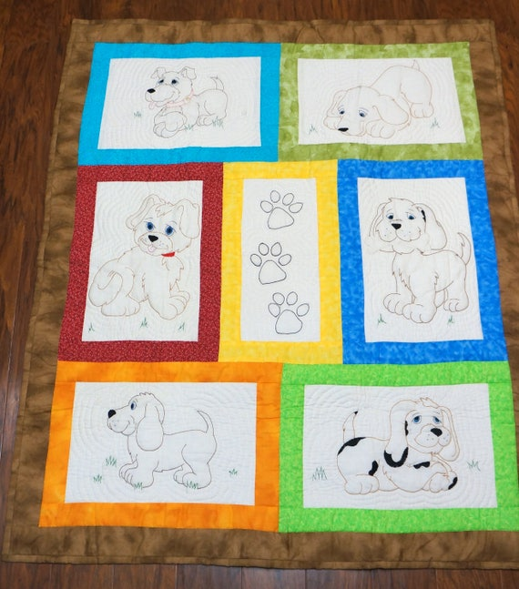 Hand Stitched Puppy Dog Baby Quilt Embroidery Patchwork