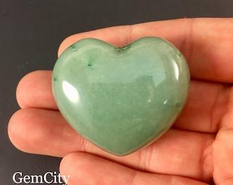 Green Aventurine Heart Stone - Stone Heart, Love Stone, Crystal Heart, Prosperity Stone, Calming Stone, Heart Chakra, Green Adventurine
